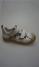 Froxy, glad leren half open schoen, t-band model, leer gevoerd, losse binnenzool, stootneus, klittenbandsluiting, wit vintage 30