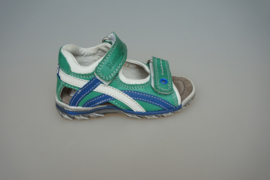 Romagnolie, leren sandaal met dichte hiel, velcro, leer gevoerd, blauw/groen  22