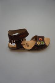 Daumling, glad leren sandaal, met klittenband sluiting en verstelbaar, leren voetbed, sliertjes,espresso met bloemetjes   38