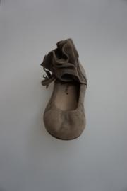 Bruno Premi, nubuck leren ballerina met schacht om enkel met trekkoord leer, taupe  37 38