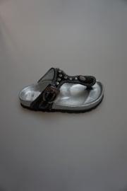 Gattino, leren teenslipper, zwart met strass steentjes 26