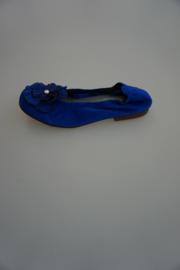 Clic, nubuck leren ballerina met bloem, leer gevoerd, ante bluette, kobalt blauw 30 35 37