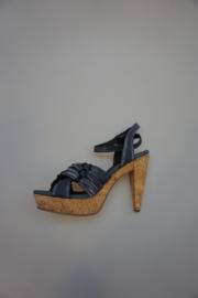 SPM, leren sandalette, op kurk, plateauzool 3cm, hak (incl. plateau) 10½cm, anthraciet/zwart