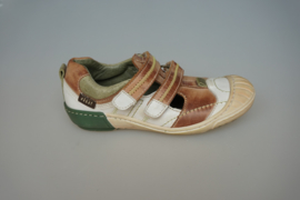 Clic zomerschoen, leer met stootneus, T band met klittenbandsluiting, leer gevoerd, bruin/beige/groen  29   32