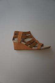 Unisa, sandalet in nubuck leer, met elastische banden, sleehak, leer van binnen, rits achter, Bomber Tan