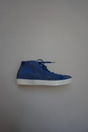 Andrea Morelli, sneaker in nubuck leer met overall kleinte studjes in zilver, rits, mid hoog, leer gevoerd, blauw, 35