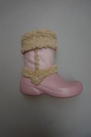 Crocs, snowboot met vacht/teddy krul, cotton candy, maat 35