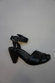 SPM  Sandalette, zwart leer, plateauzool 1cm, hak 7cm, zwart