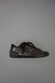 Le Coq Sportif lage sneaker met veter, geen leer, met strass, donker zilver, 36 37