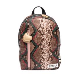 Zebra trends, mooie rugzak in snake pu print met roze confetti dots voering