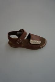Clic leren sandaal, voor en achter verstelbaar met klittenband, bruin, taupe met strass  28 30 32 33