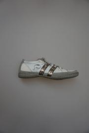 Quick, leren sprotieve veterschoenen, leer, niet leergevoerd,wit met brons strepen, grijze zool, 36