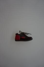 Shoesme  flexibele leren veterschoentje met stootneusje, leer gevoerd, bruin/rood leer 18