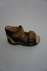 Daumling, leren sandaal, volledig leer gevoerd, verstelbaar met klittenband, klittenband sluiting, dichte hiel, olijf/bruin 24 25