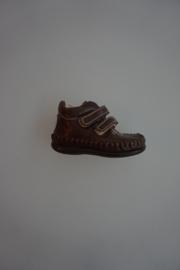 Renlev leren klittenband schoentjes, moccasin model,  flex zool, leer gevoerd,  bruin 19 21