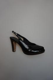Tamaris, sandalet, lak, open teen en hiel, gespbandje, plateauzooltje, leren binnenzool,  zwart 37