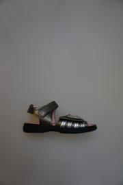 Daumling, leren sandaaltje met klittenbanden, verstelbaar, smal, leer gevoerd, platino/brons, 29  32