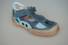 Shoesme zomerschoen in jeansblauw leer, leer gevoerd, t band model met stootneus 28