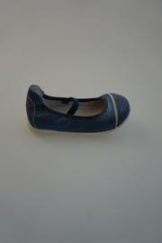 Acebo's, leren ballerina met dun bandje, metallic leer/lakneus, blauw