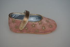 Clic baby schoentjes met soepele zooltje, model mary jane, bandje sluit met klittenband  goud bloemetjes 21