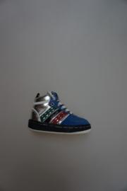 Quick, hoge sneaker met veter, zonder rits, valt klein,  leer, niet leer gevoerd, blauw, zilver rood wit 22