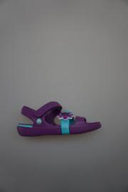 Crocs, sandal Girls, klittenband, crocs voetbed, dahlia, paars/turquiose met bloemetje,