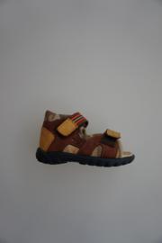 Daumling, leren sandaal, volledig leer gevoerd, klittenbandverstelbaar, klittenbandsluiting, dichte hiel, bruin/camouflage