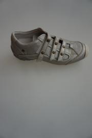 Hip, sneaker in leer, met klittebandsluiting, leer gevoerd, stootneus, zilver metallic  33 34