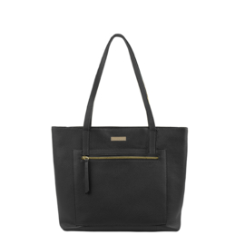 By Lou Lou Essentials, 53 Bag, beau veau,  leren tas met laptopvak, zwart