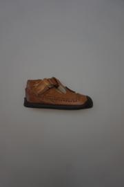 Shoesme, leren t-band schoentje, leer gevoerd met stootneusje, klittenbandsluiting, sand/cognac   22 23