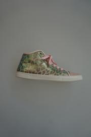Romagnolie, sneaker, metallic leer met panterprint in rose , leer gevoerd