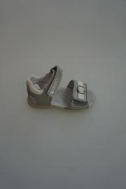 Twins, leren sandaal, leer gevoerd, klittenbandverstelbaar/-aluiting, zilver/wit