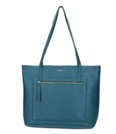 Lou Lou Essentials, leren tas, Petrol blauwe schoudertas voor school, werk of vrije tijd