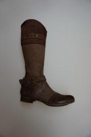 Shoesme, lange laars van crushed leather, leer gevoerd, stoer model met hakje, bruin 33