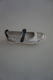 Bana, leren bandschoen met stootrand, leer gevoerd, Fiordilatte zilver/blauw/ wit
