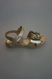lelli kelly, Campanella leren sandaal, verstelbare klittenband, strass, goud