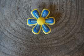 Cros jibbitz bloem (L) geel blauw