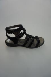 Ricosta, sandaal in nubuck leer, met bandjes, zwart ,