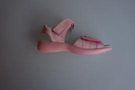 Daumling, leren meisjessandaal met klittenbandsluitingen, leren voetbed, crash bianco/roze maat 32, 36