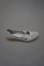 Perche No?, wit gladleren bandschoen met strikje en bloemetjes, leer gevoerd, wit  33