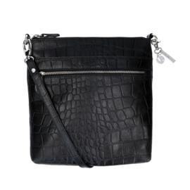 Lou Lou Essentials schoudertas, rundleer met een natural look, vintage croco, 2 vakken aan de buitenkant,  zwart
