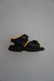 Daumling, leren sandaal, klittenbandverstelbaar/-sluiting, donker blauw, geel