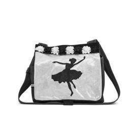 Zebra Trends schoudertas, Dance black,  zwart zilver met ballerina en bloemendecoratie