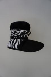 Little David damesslof hoge instapslof, binnenkant vacht, zebra, zwart 36