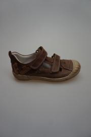 Froxy, gladleren half open schoen met klittenband, losse binnenzool, t-band model, stootneus, leergevoerd, Testa di Moro 34