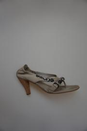 Kennel&Schmenger, leren sandalet, leer gevoerd, op houten hakje, met strass stenen, taupe,