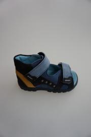 Daumling, leren sandaal, volledig leer gevoerd, klittenbandsluiting, verstelbaar op voet, dichte hiel, blauw combi,