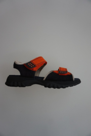 Daumling, leren sandaal, klittenband sluiting/- verstelbaar, donker blauw/oranje,