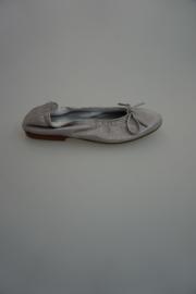Clic leren ballerina met strikje, leer gevoerd, cosmos ifrit, licht grijs metallic, 31