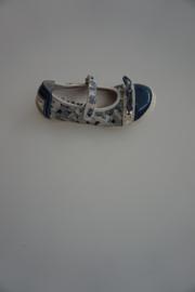Bana, leren bandschoentje, luxe uitvoering met multi blauw print en lakneusje met stootrand, 26 32